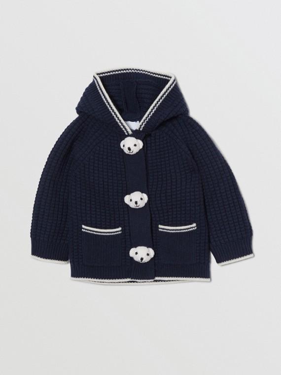 Kapuzenjacke aus Wolle und Kaschmir mit Thomas Teddybär-Detail (Marineblau)