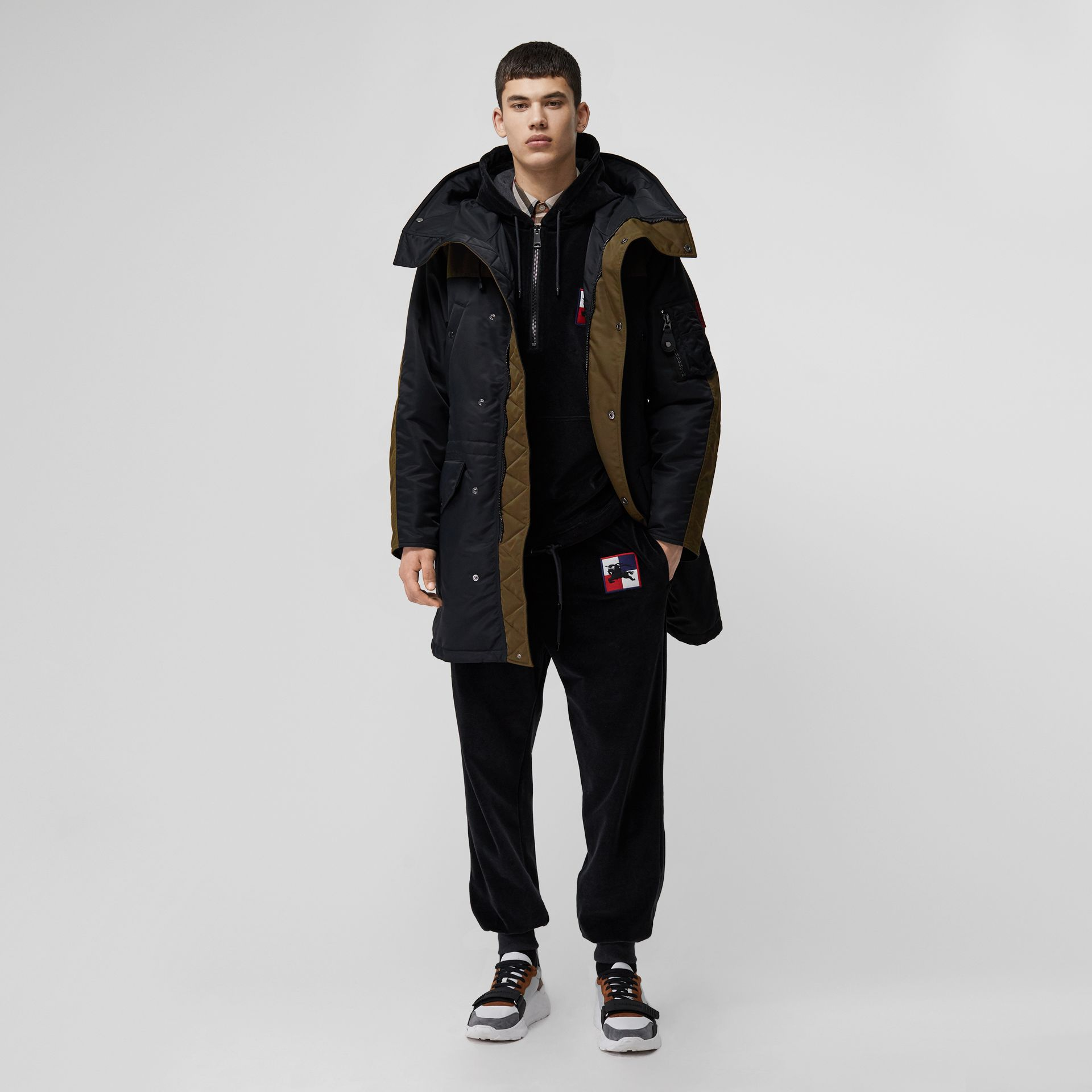 Colour Block Padded Hooded Parka in Black - Men | Burberry - gallery image 0