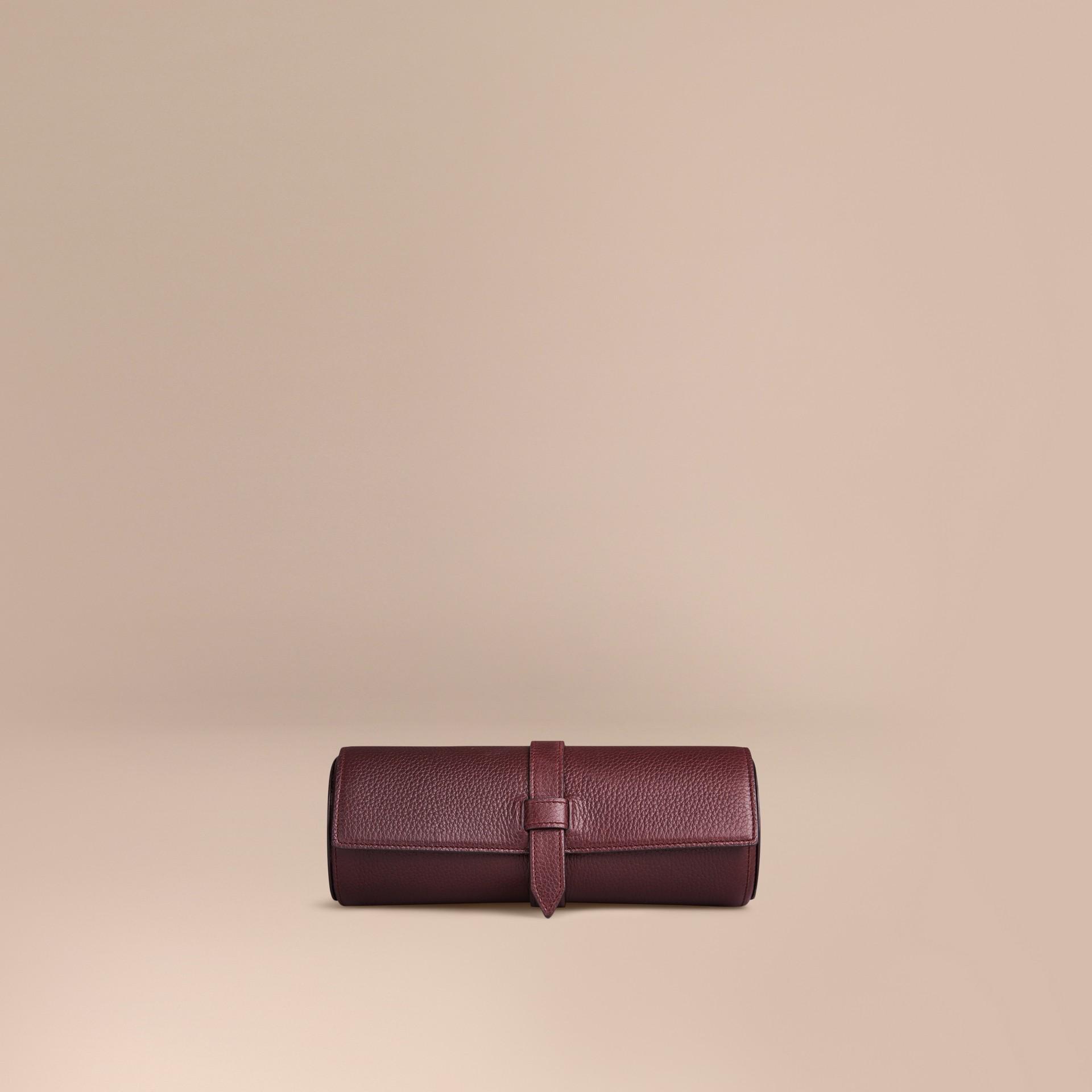 Rosso ebano Custodia per orologi in pelle a grana Rosso Ebano - immagine della galleria 1