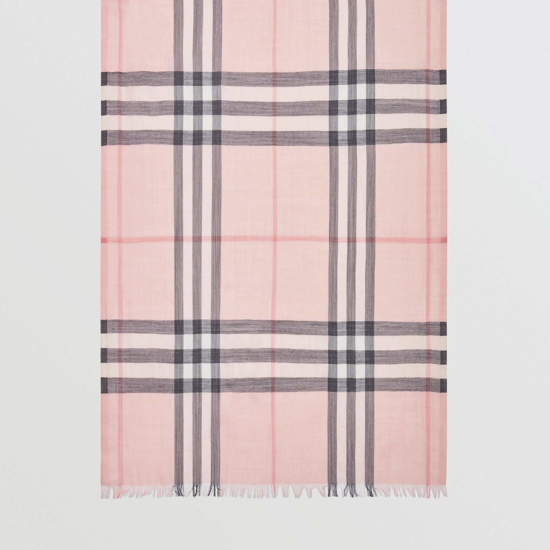 Lightweight Check Wool and Silk Scarf in Ash Rose | Burberry Australia - gallery image 4