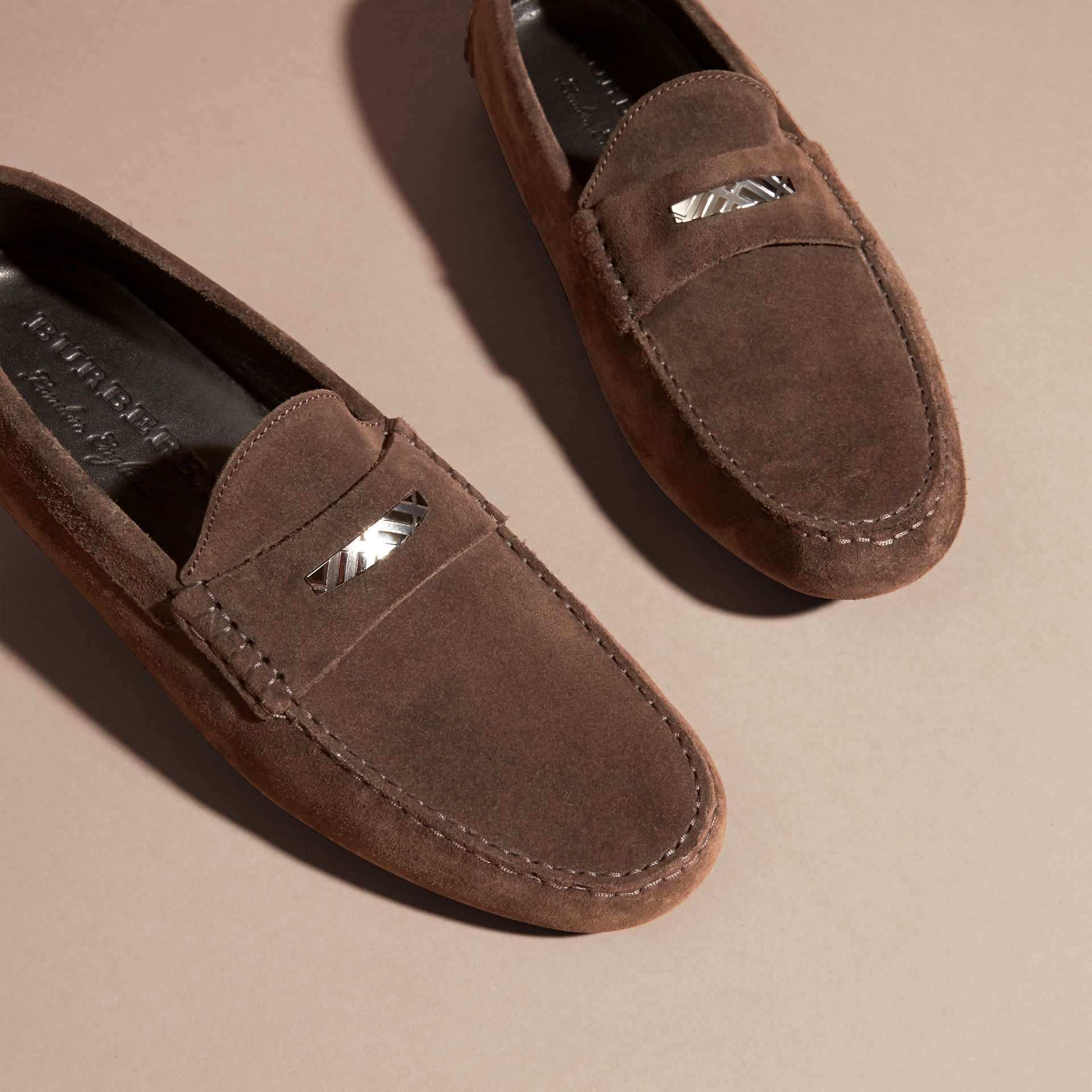 Suede Loafers with Engraved Check Detail Peat Brown - gallery image 3