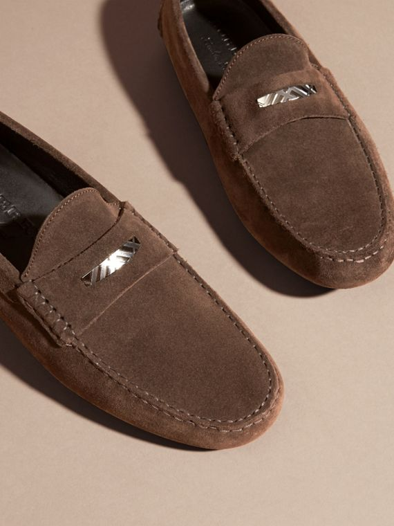 Suede Loafers with Engraved Check Detail Peat Brown - cell image 2