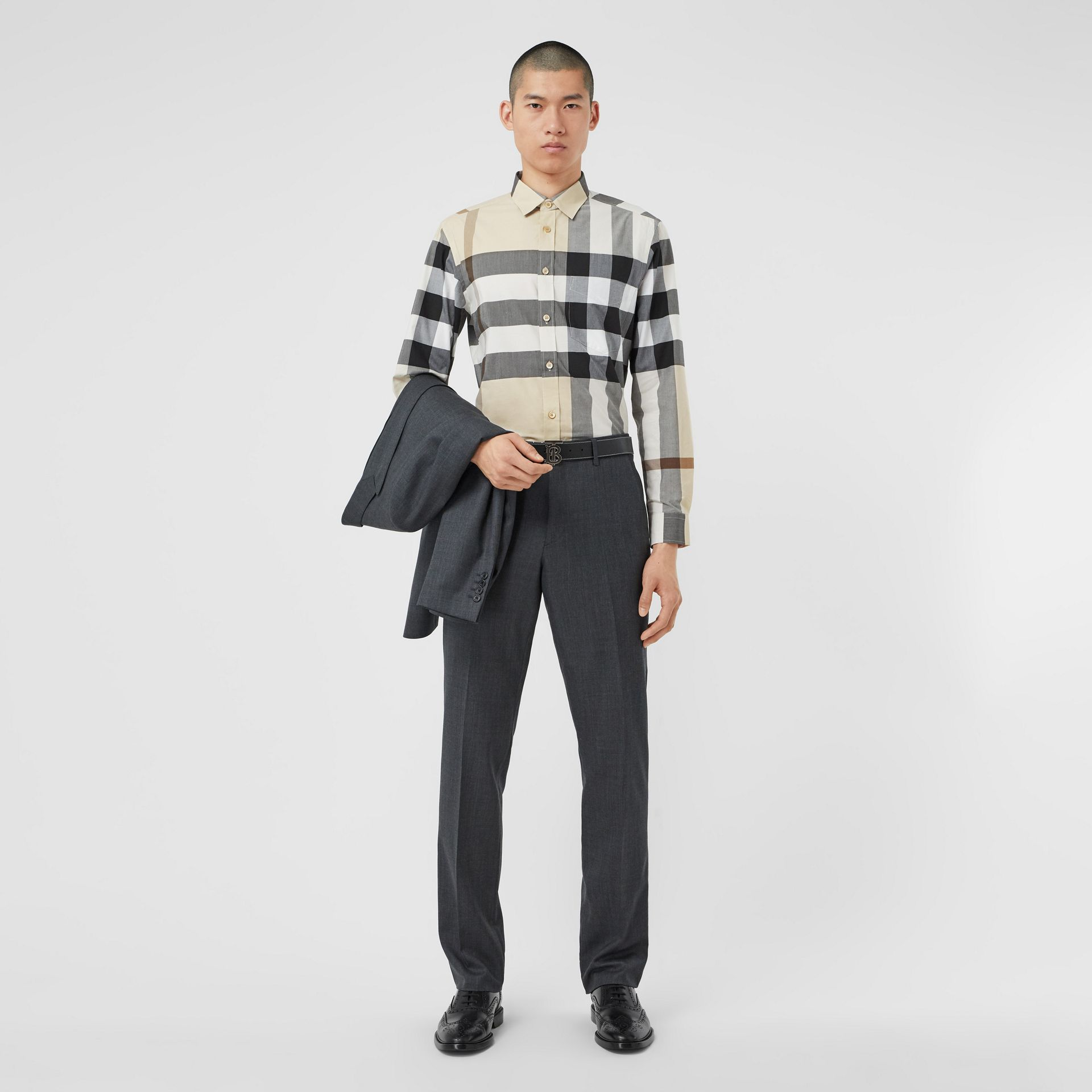 Check Stretch Cotton Poplin Shirt in Modern Beige - Men | Burberry United Kingdom - gallery image 5