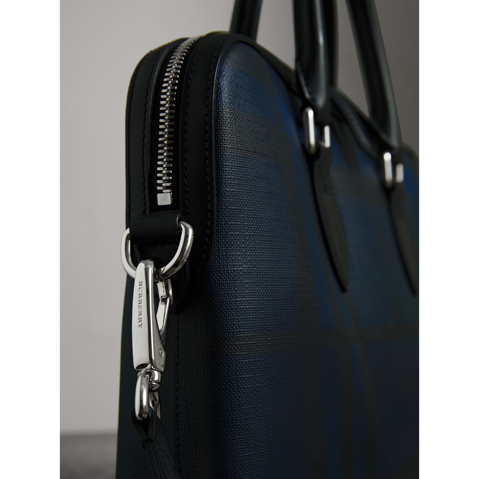 Medium Leather Trim London Check Briefcase in Navy/black - Men | Burberry Australia - gallery image 1