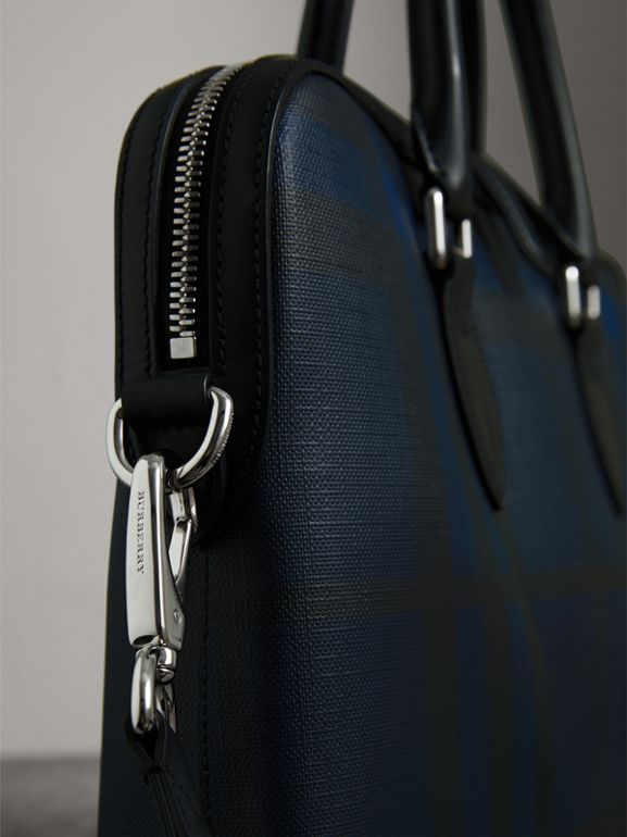 Medium Leather Trim London Check Briefcase in Navy/black - Men | Burberry - cell image 1