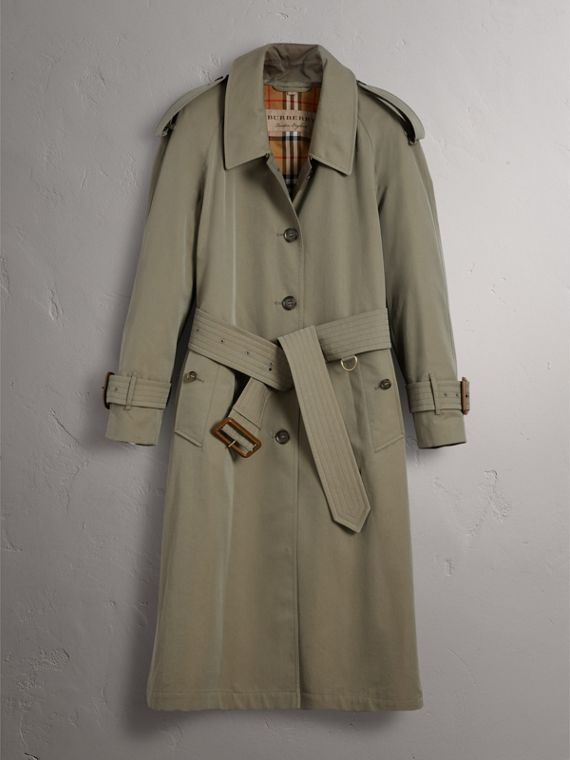 Side-slit Tropical Garbadine Trench Coat in Chalk Green - Women | Burberry Canada - cell image 3