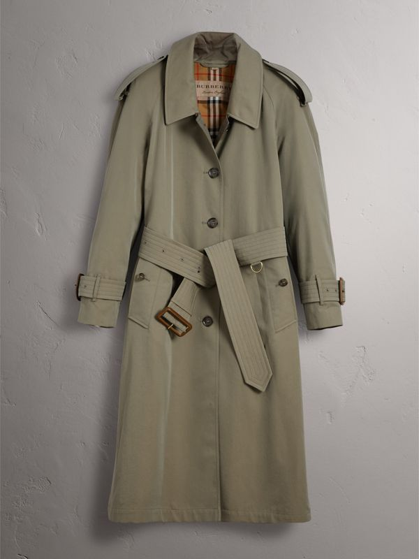 Side-slit Tropical Gabardine Trench Coat in Chalk Green - Women | Burberry Canada - cell image 3
