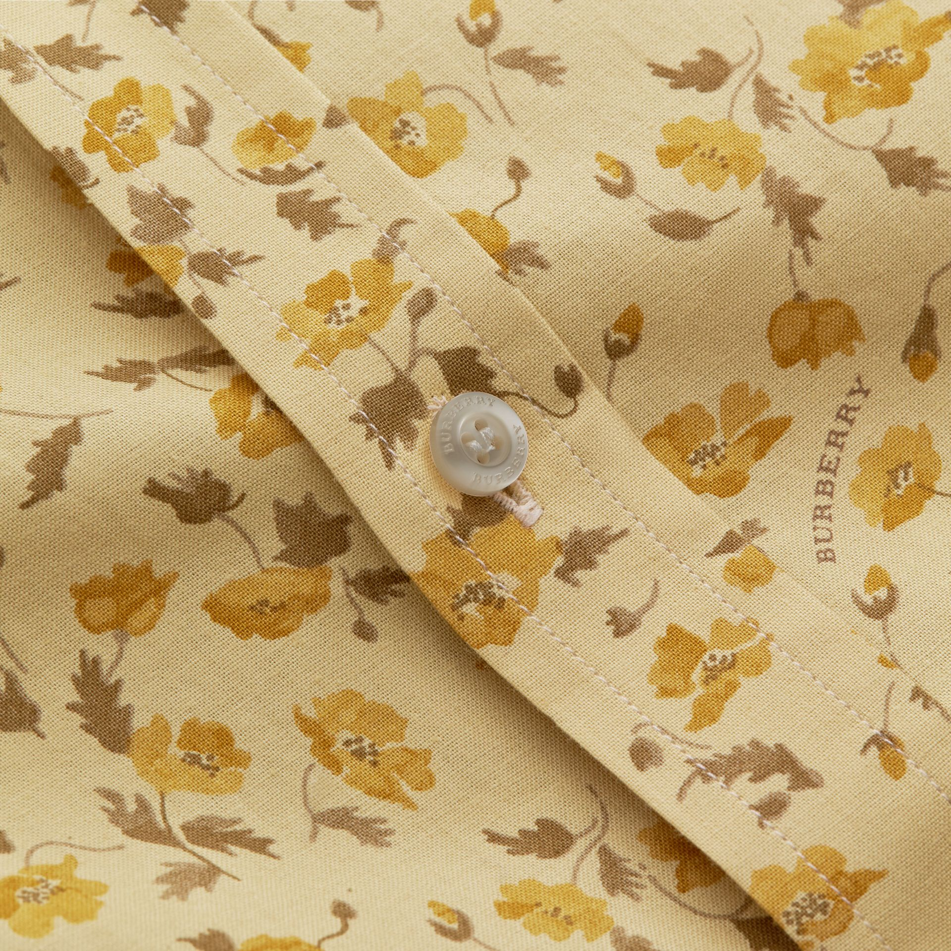 Grandad Collar Floral Print Cotton Poplin Shirt in Chalk Yellow - Men | Burberry - gallery image 2
