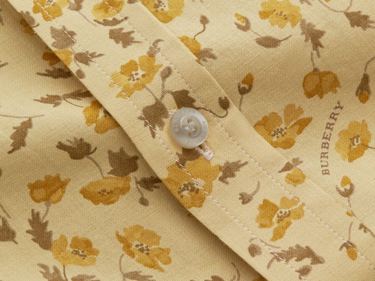 Grandad Collar Floral Print Cotton Poplin Shirt in Chalk Yellow - Men | Burberry - cell image 1