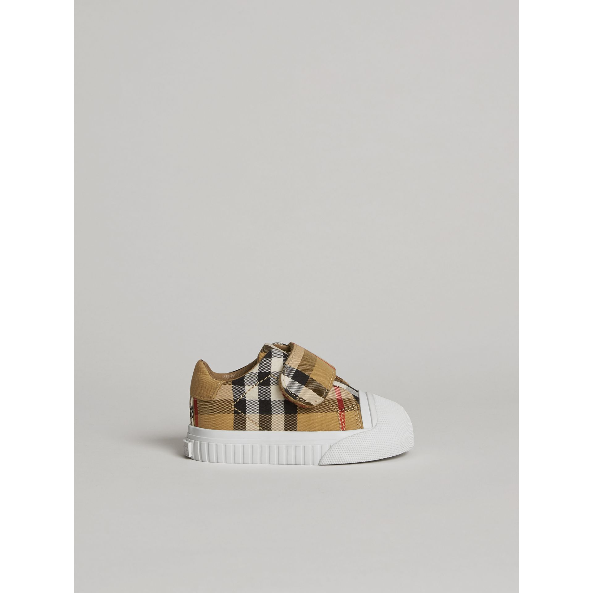 Vintage Check and Leather Sneakers in Antique Yellow/optic White | Burberry - gallery image 3