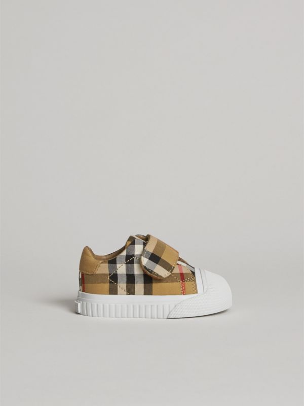 Vintage Check and Leather Sneakers in Antique Yellow/optic White - Children | Burberry - cell image 3