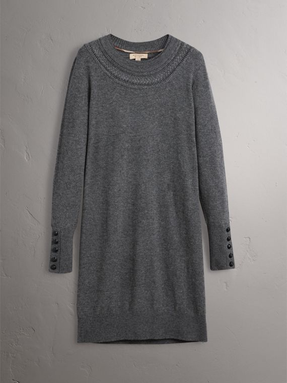 Knitted Wool Cashmere Sweater Dress in Mid Grey Melange - Women | Burberry - cell image 3