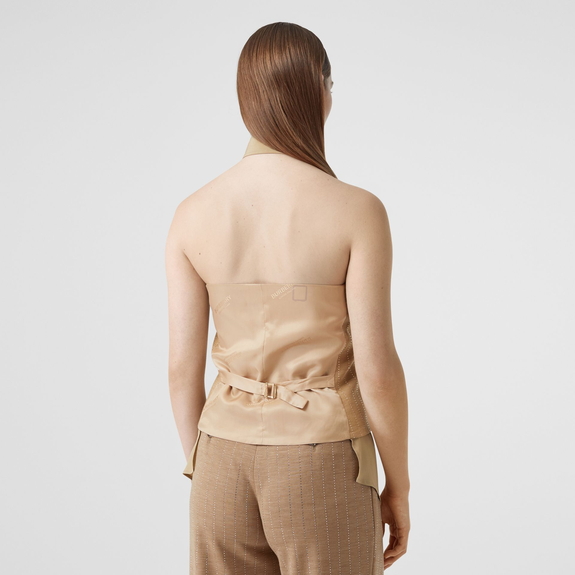 Shirt Detail Crystal Pinstriped Wool Blend Waistcoat in Pecan Melange - Women | Burberry Australia - gallery image 2
