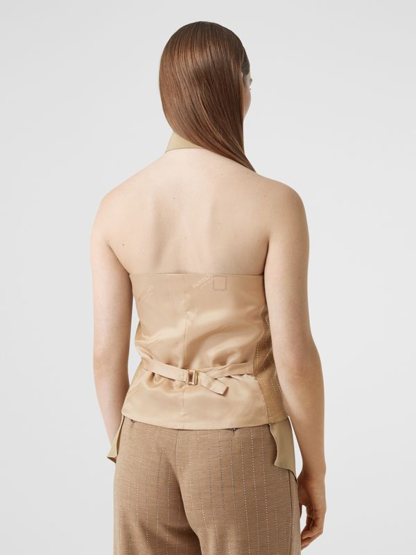 Shirt Detail Crystal Pinstriped Wool Blend Waistcoat in Pecan Melange - Women | Burberry Australia - cell image 2