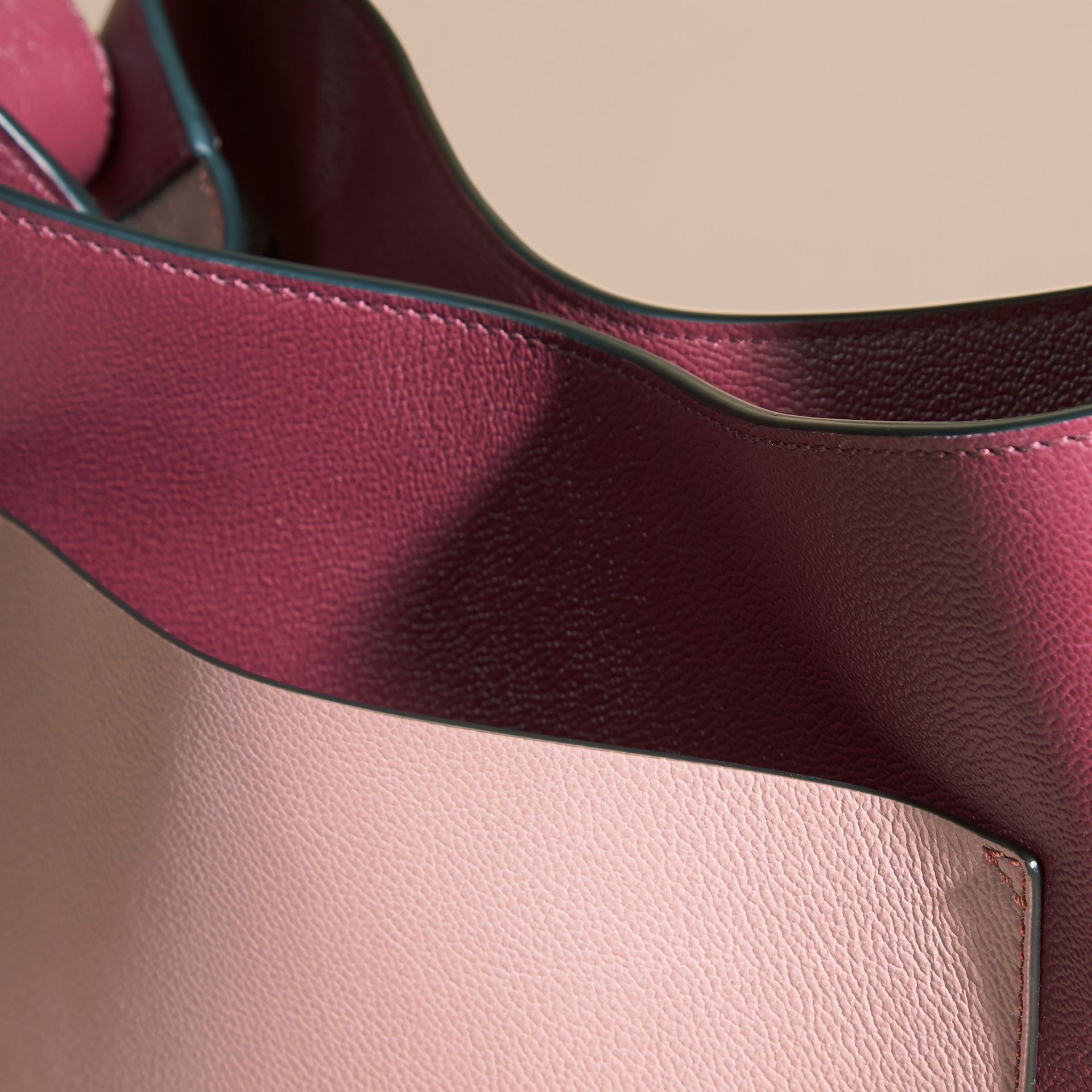 Dark plum/ dusty pink Textured Leather Shoulder Bag - gallery image 6