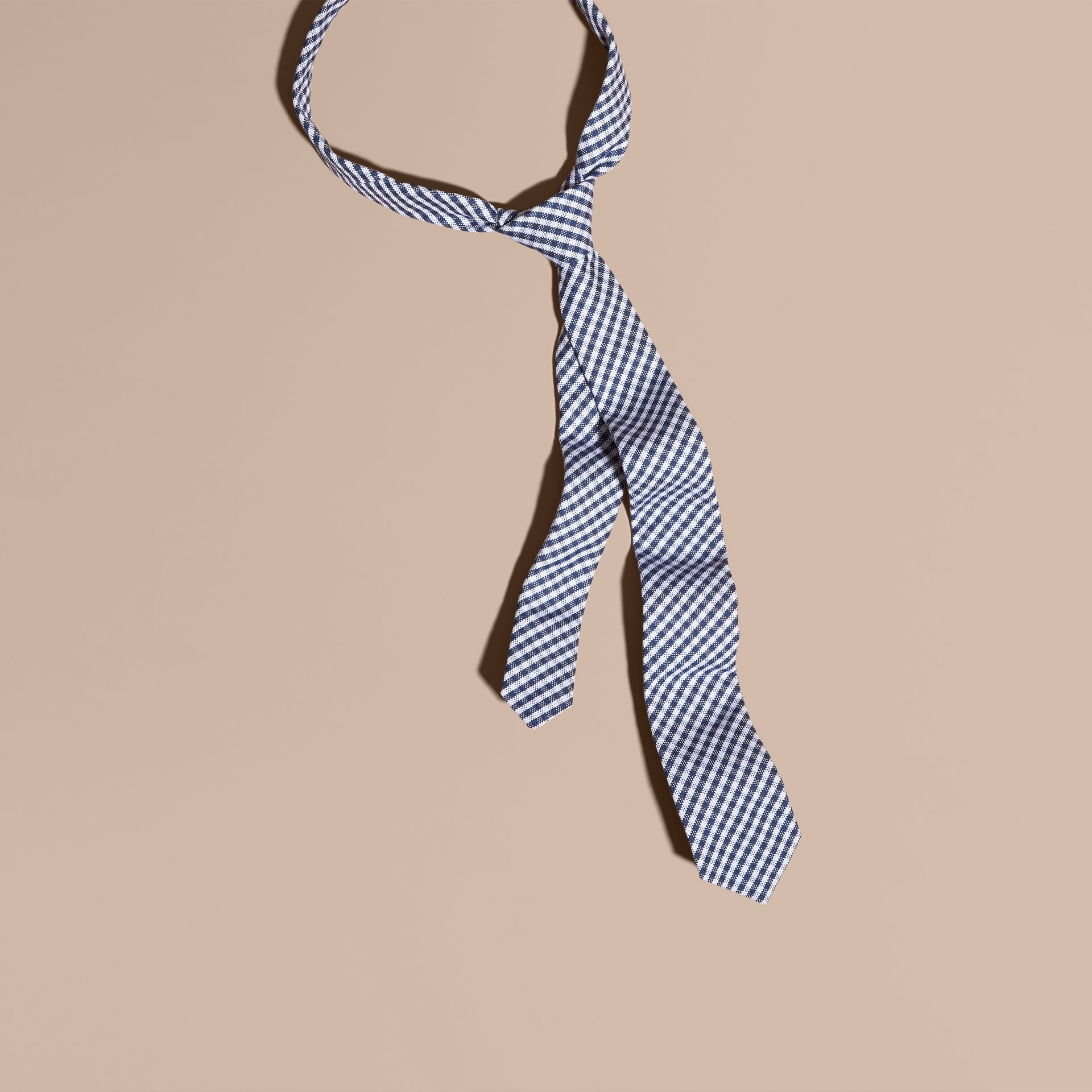 Brilliant blue Slim Cut Cotton Silk Gingham Tie Brilliant Blue - gallery image 1