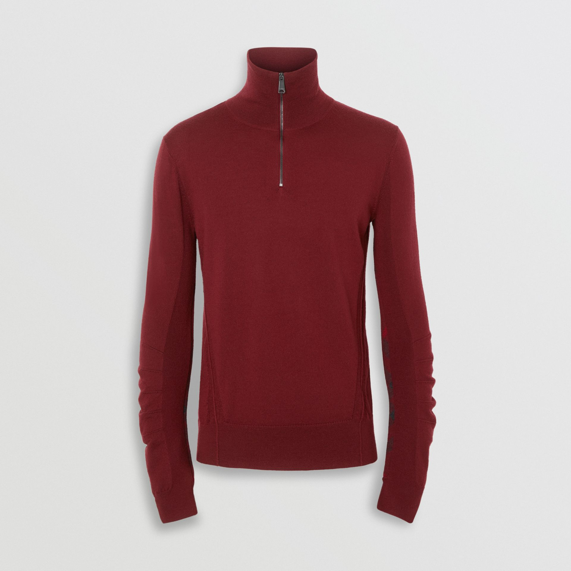 Merino Wool Half-zip Sweater in Burgundy - Men | Burberry Singapore - gallery image 3
