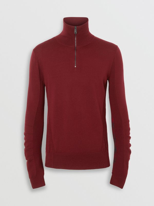 Merino Wool Half-zip Sweater in Burgundy - Men | Burberry Canada - cell image 3