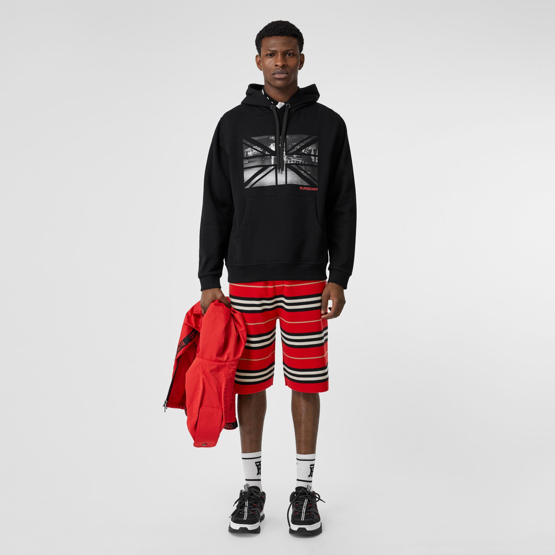 Union Jack Photo Print Cotton Hoodie in Black - Men | Burberry - gallery image 0