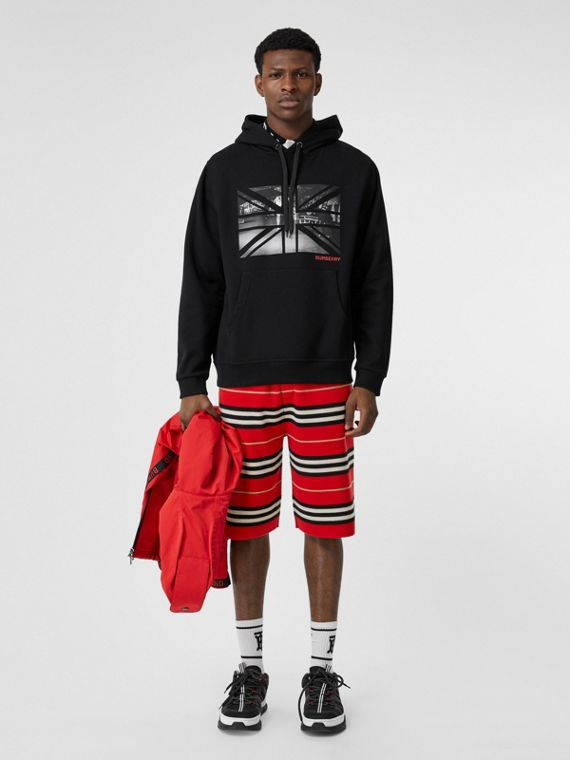 Union Jack Photo Print Cotton Hoodie in Black
