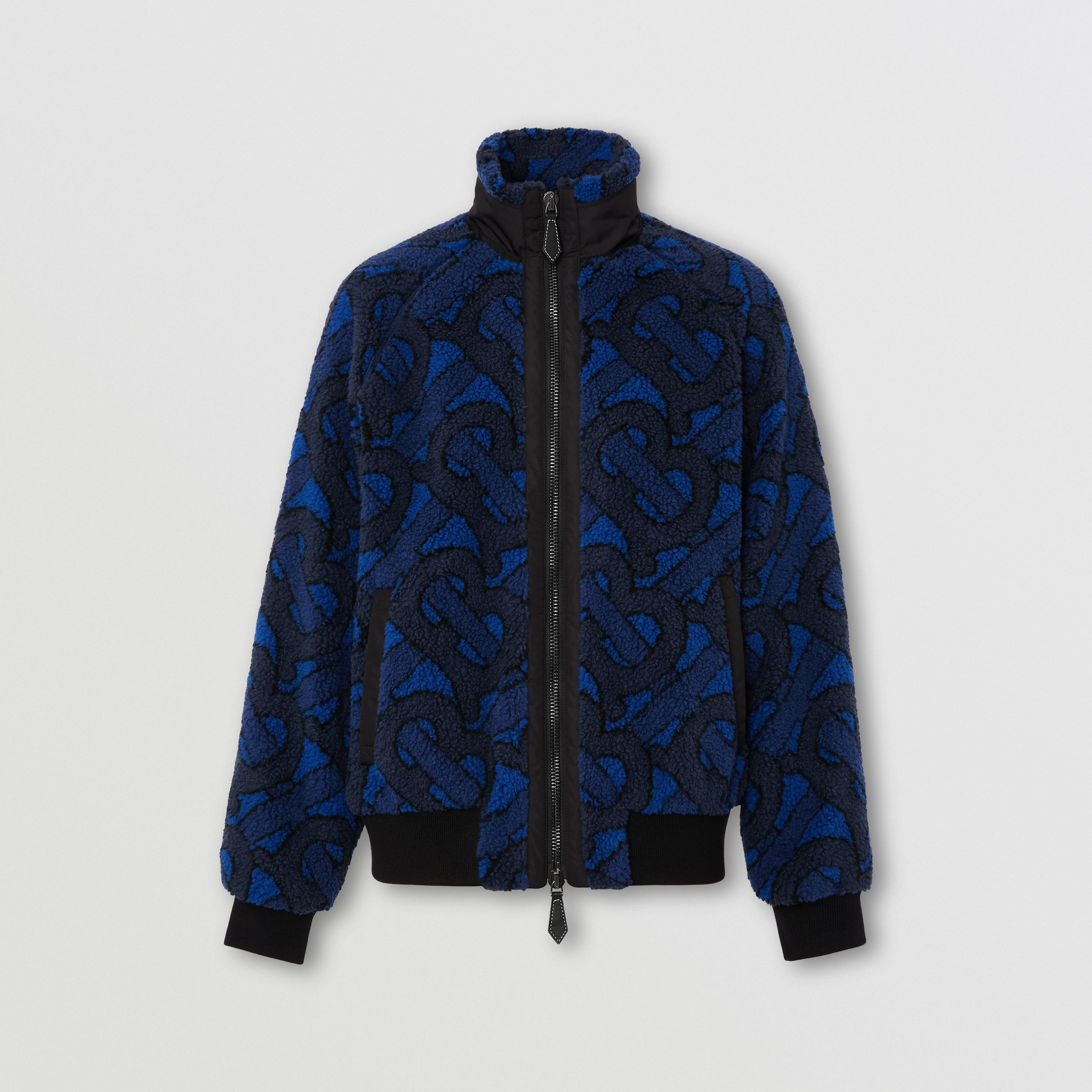 Monogram Fleece Jacquard Jacket in Navy - Women | Burberry - 4