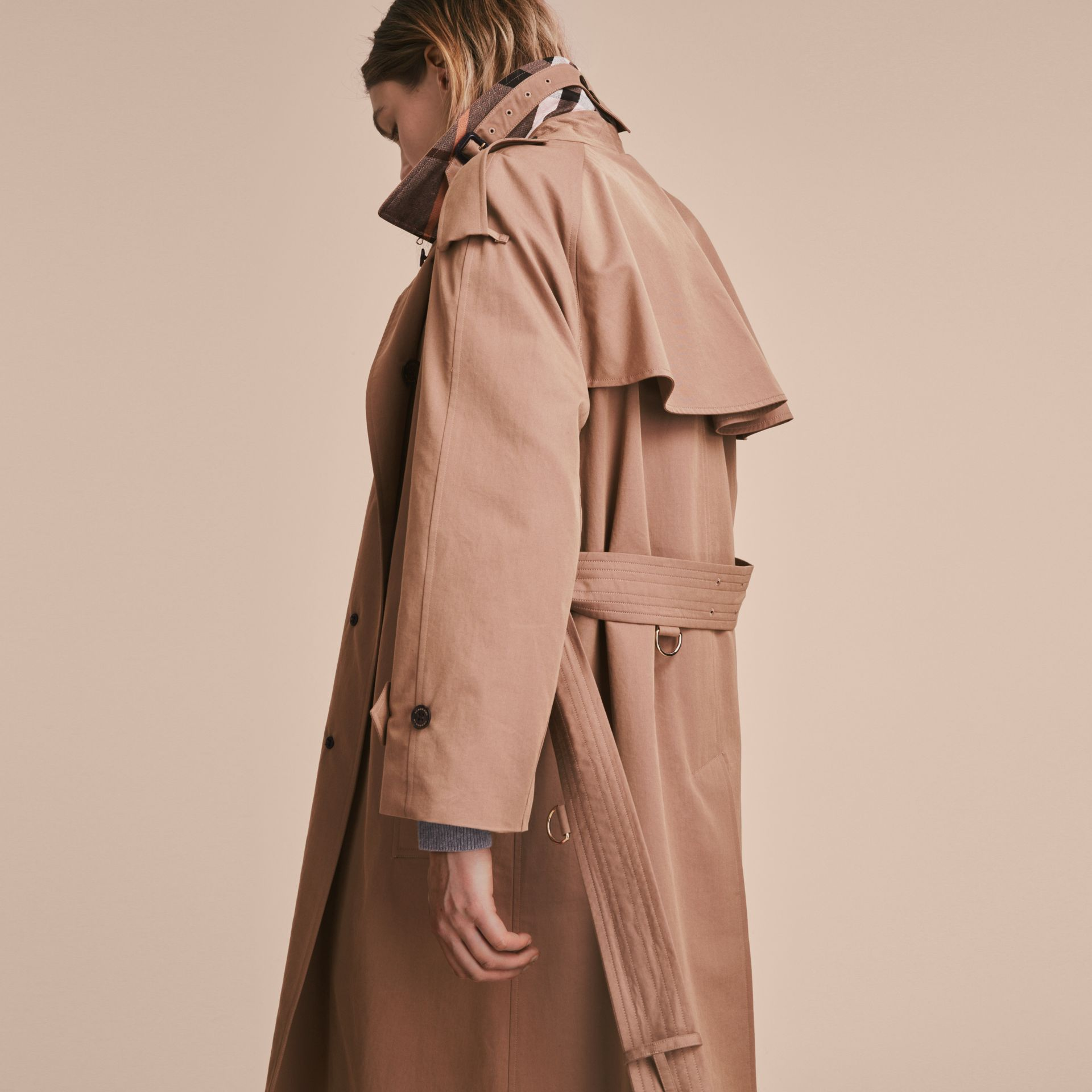 Taupe Tropical Gabardine Trench Coat - gallery image 5
