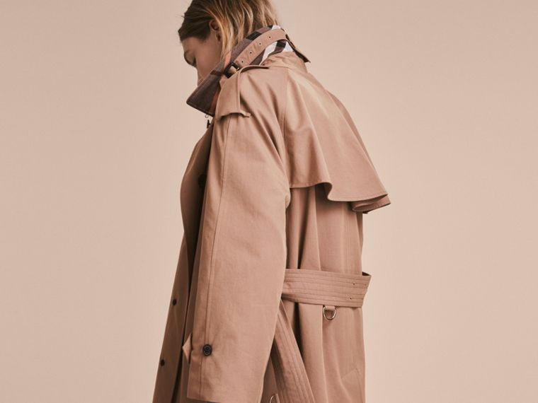 Taupe Tropical Gabardine Trench Coat - cell image 4