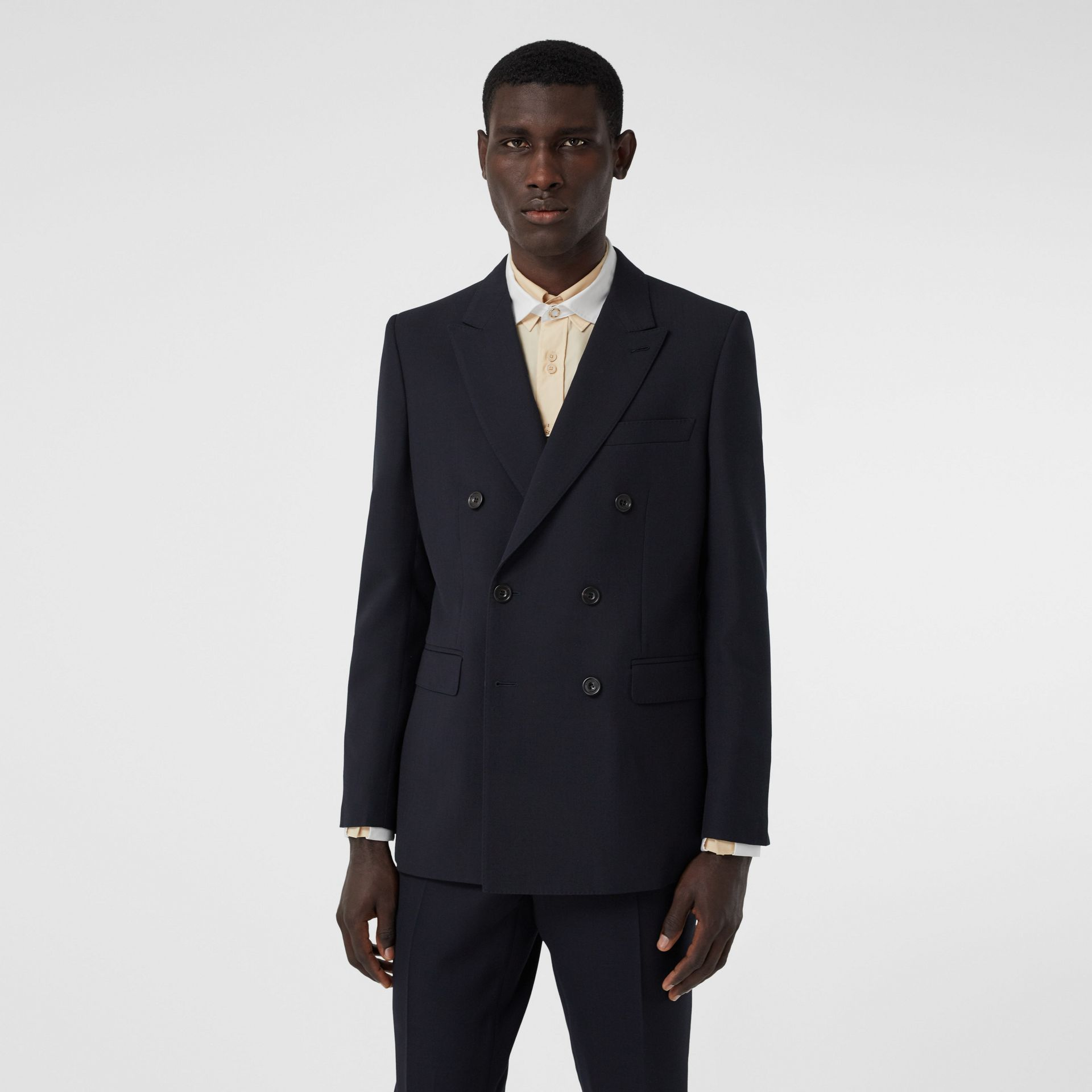 English Fit Double-faced Wool Crepe Tailored Jacket in Navy - Men | Burberry - gallery image 5