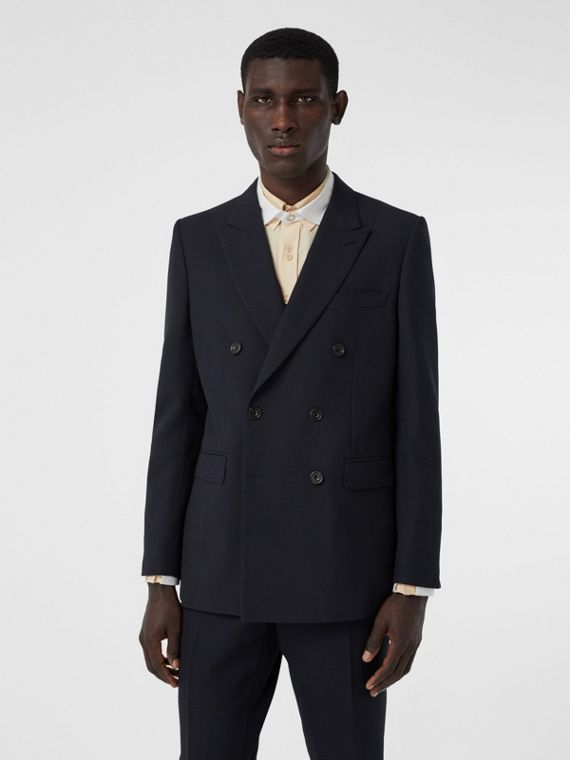 English Fit Double-faced Wool Crepe Tailored Jacket in Navy