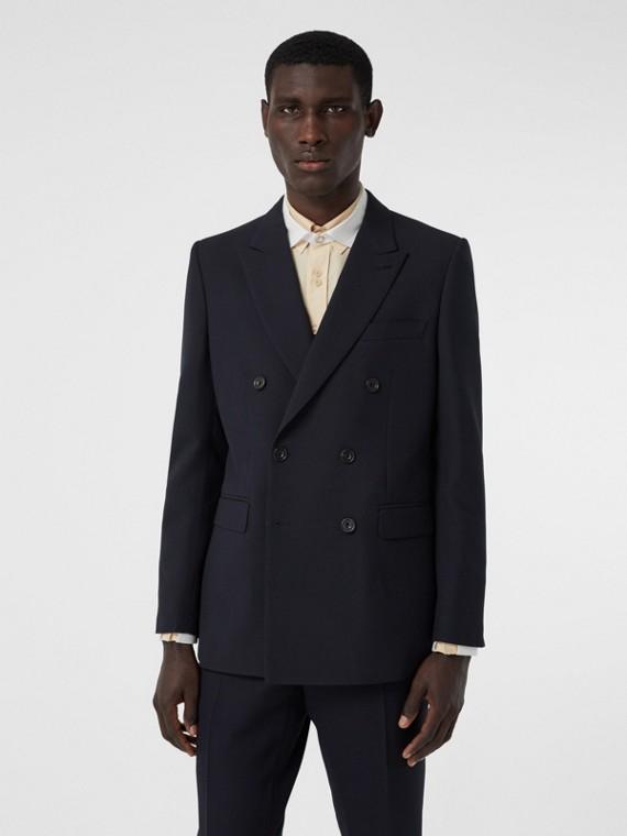 Пиджак из крепа в английском стиле (Темно-синий)
