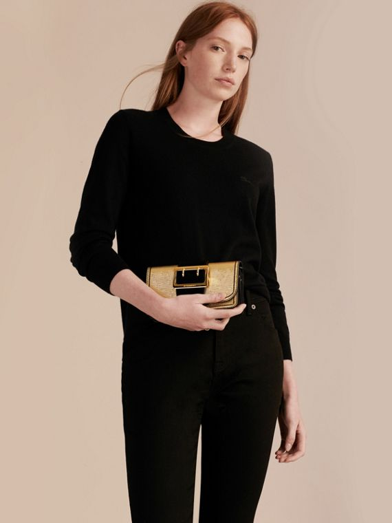 Gold/black The Small Buckle Bag in Metallic Leather and Suede - cell image 3
