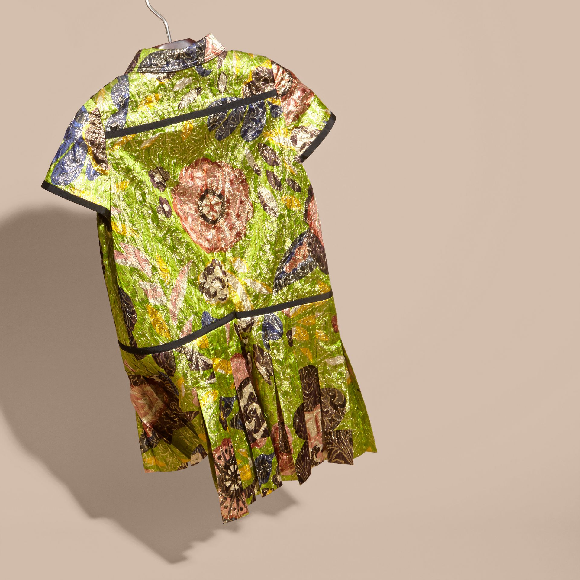 Dark lime Floral Print Lamé Shirt Dress - gallery image 4