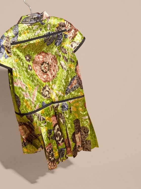 Dark lime Floral Print Lamé Shirt Dress - cell image 3