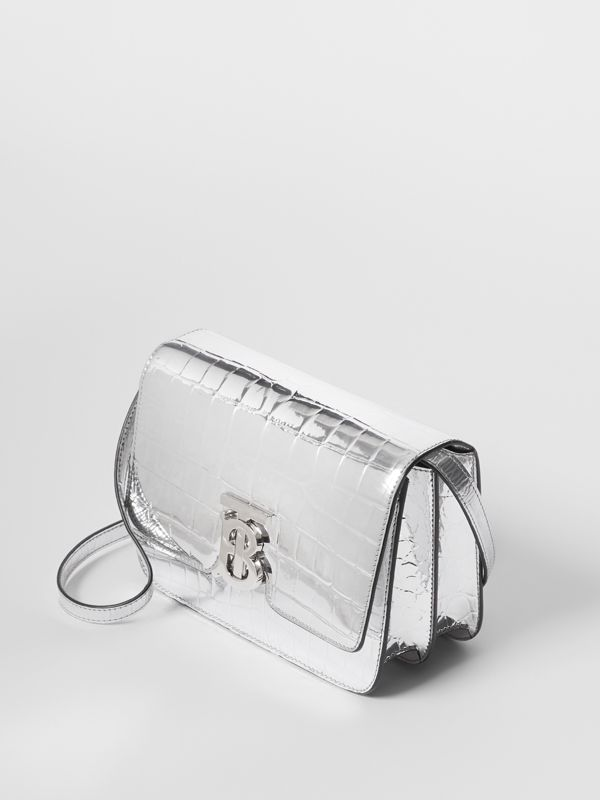 Small Metallic Embossed TB Bag in Silver - Women | Burberry United States - cell image 3