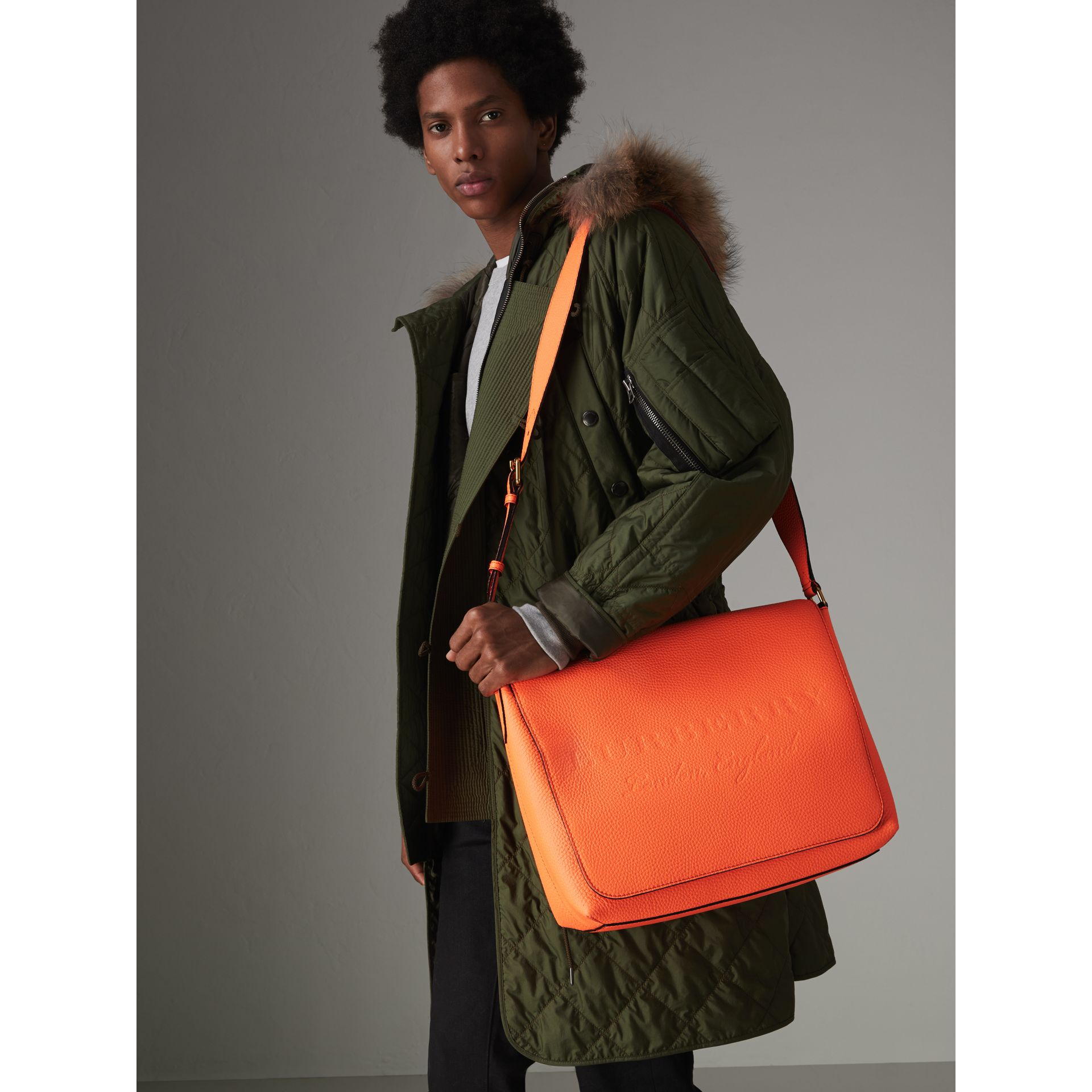 Large Embossed Leather Messenger Bag in Neon Orange | Burberry - gallery image 2