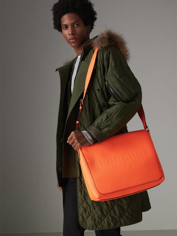 Large Embossed Leather Messenger Bag in Neon Orange | Burberry - cell image 2