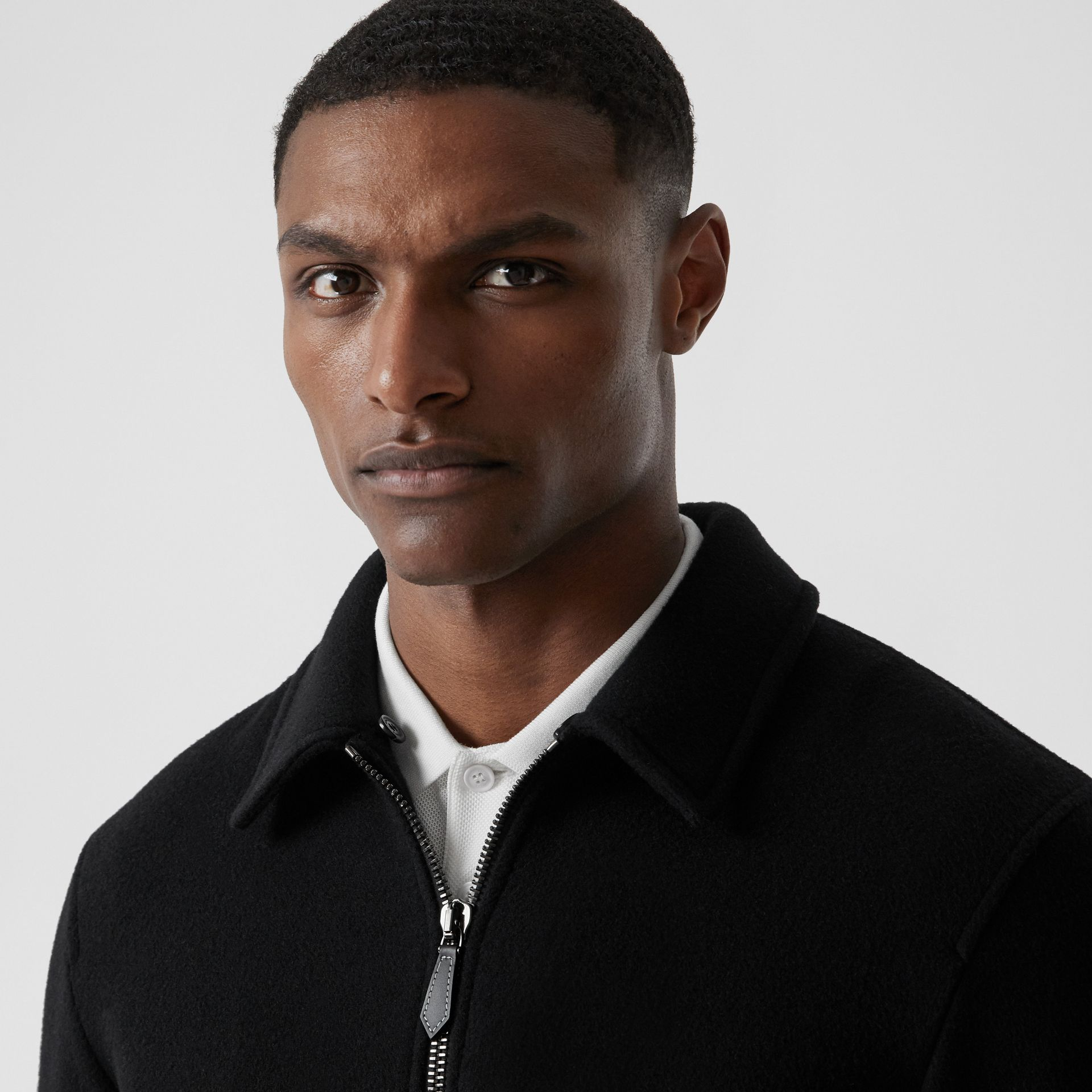 Detachable Knit Collar Wool Cashmere Bomber Jacket in Black - Men | Burberry - gallery image 1