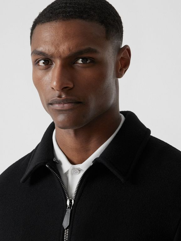 Detachable Knit Collar Wool Cashmere Bomber Jacket in Black - Men | Burberry - cell image 1