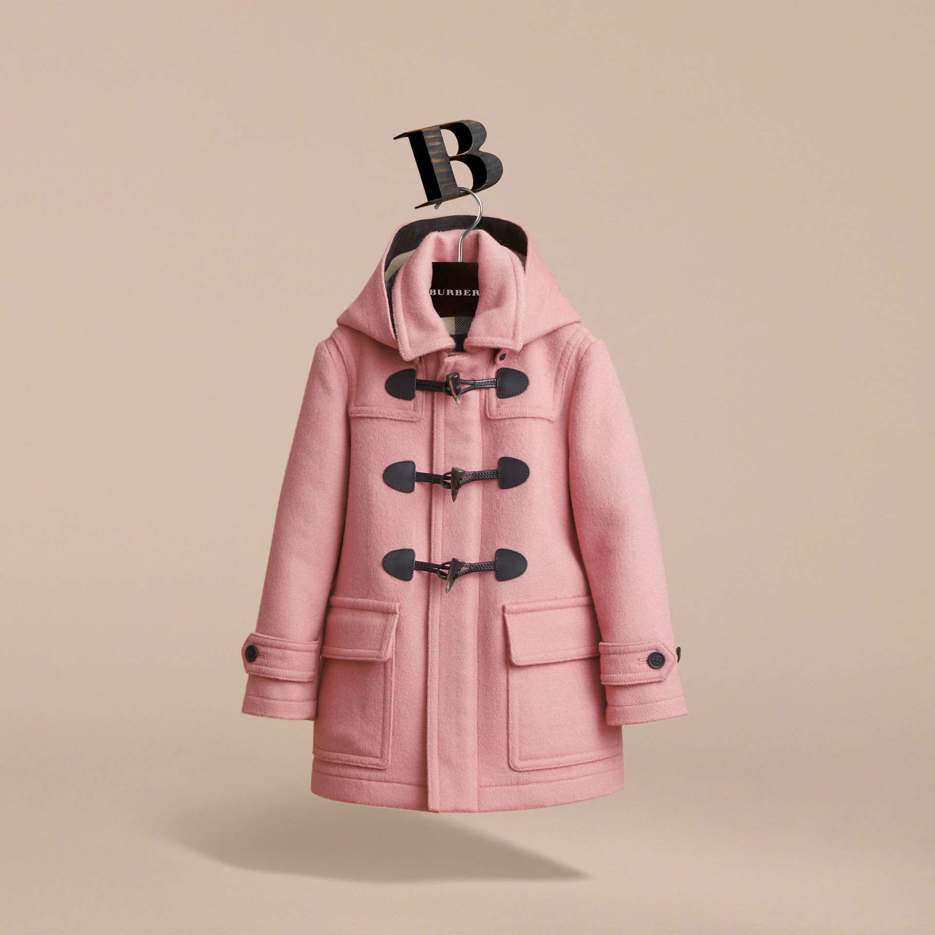 Wool Duffle Coat with Check-lined Hood in Pale Rose - Girl | Burberry Australia - gallery image 4
