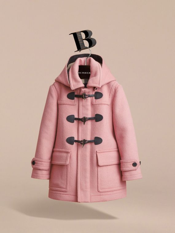 Wool Duffle Coat with Check-lined Hood in Pale Rose - Girl | Burberry Australia - cell image 3