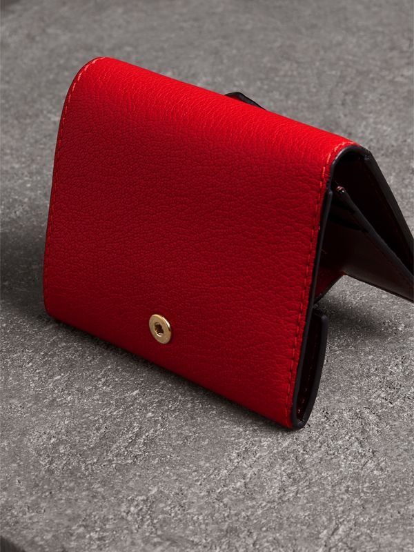 Equestrian Shield Two-tone Leather Folding Wallet in Bright Red - Women | Burberry Australia - cell image 2
