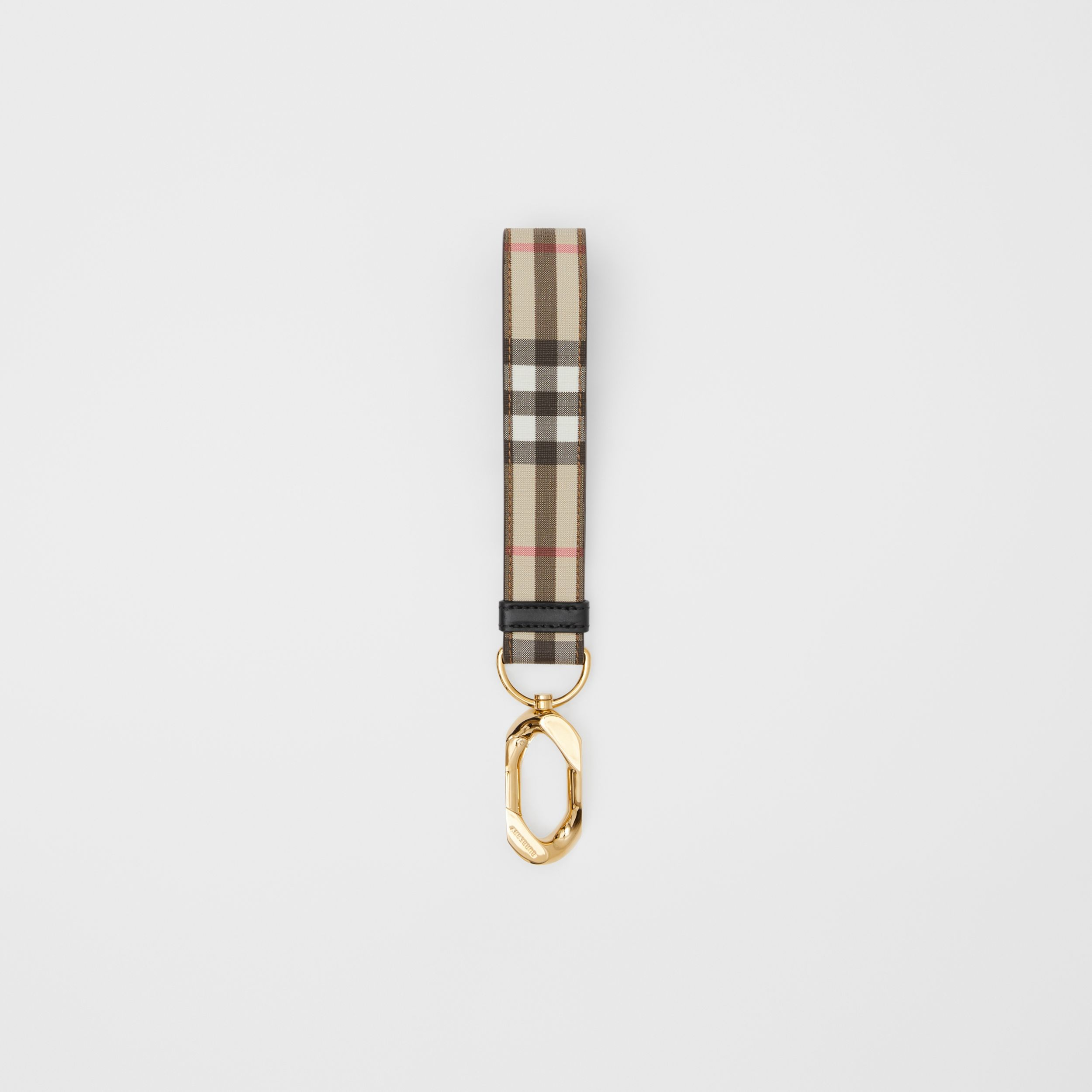 Leather Trim Vintage Check Charm in Archive Beige | Burberry - 1