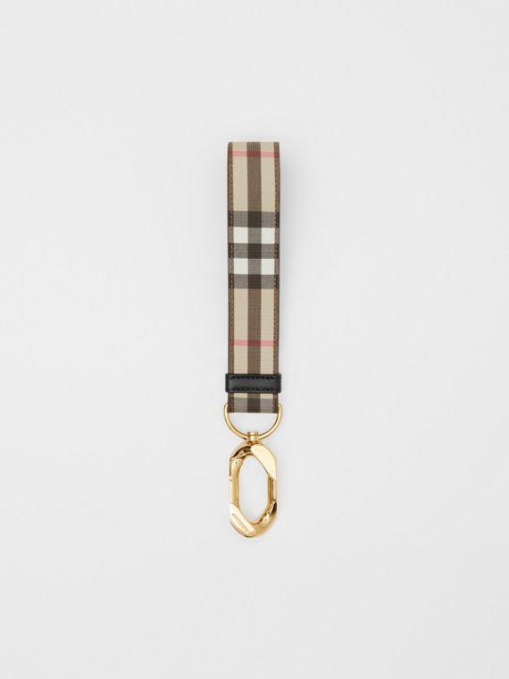 Leather Trim Vintage Check Charm in Archive Beige