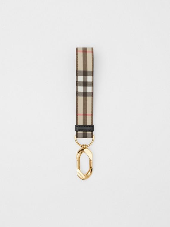 Bijou porte-clés Vintage check avec cuir (Beige D'archive)
