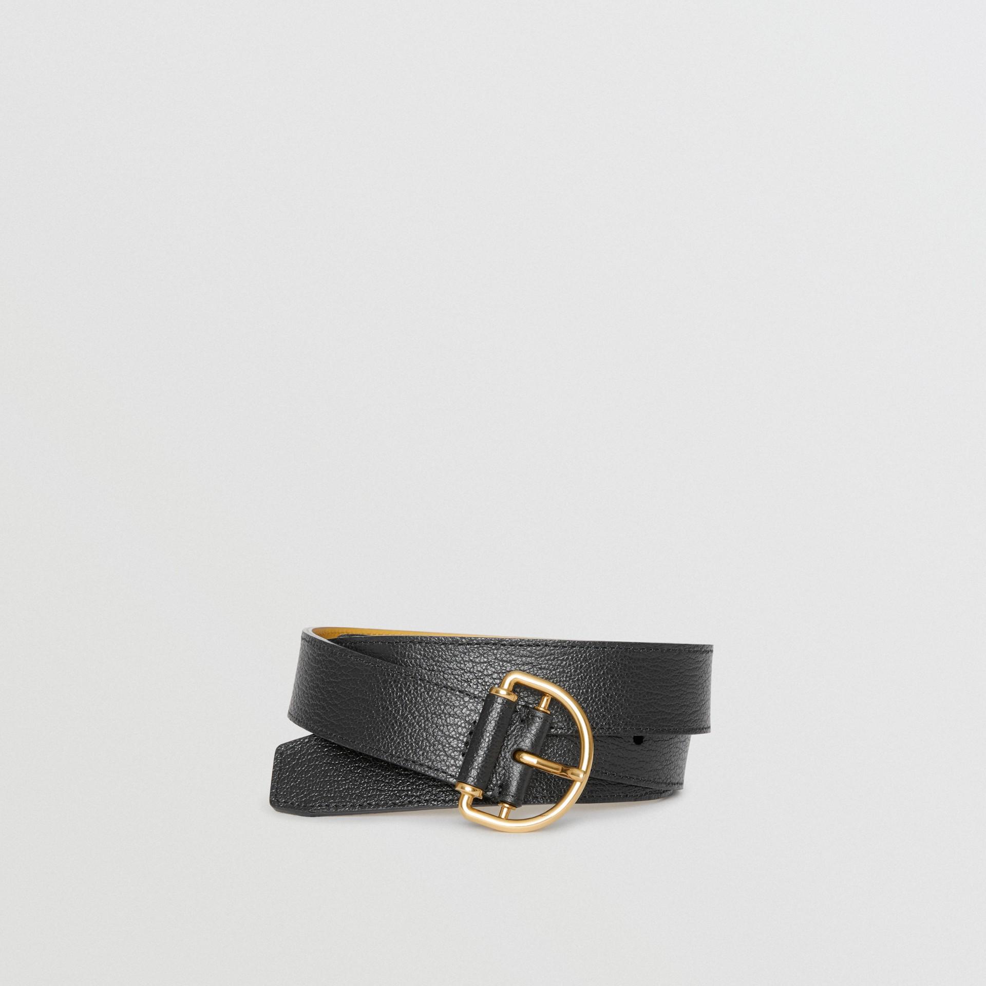 Grainy Leather D-ring Belt in Black/cornflower - Women | Burberry Australia - gallery image 0