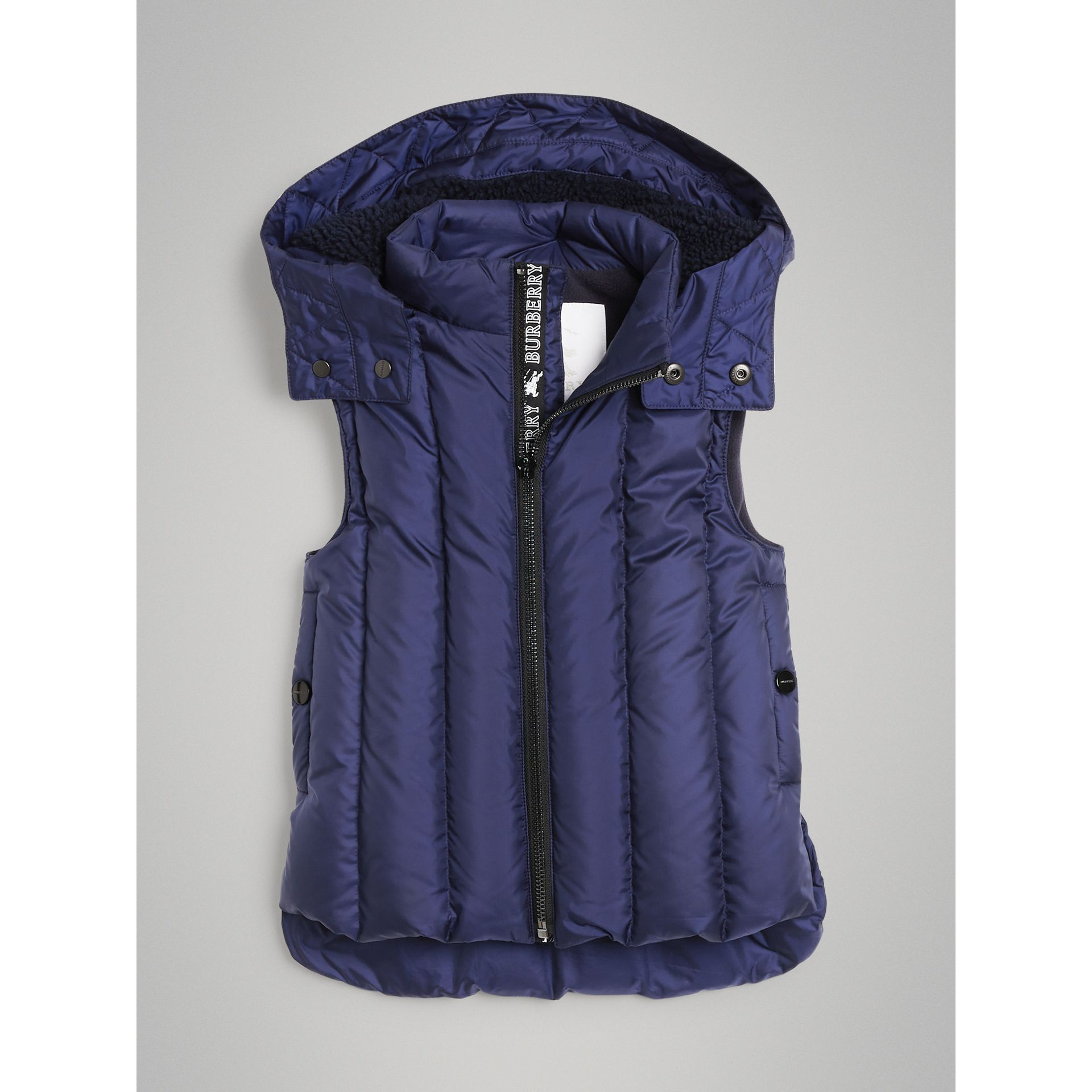 Detachable Hood Down-filled Gilet in Navy - Boy | Burberry - gallery image 0