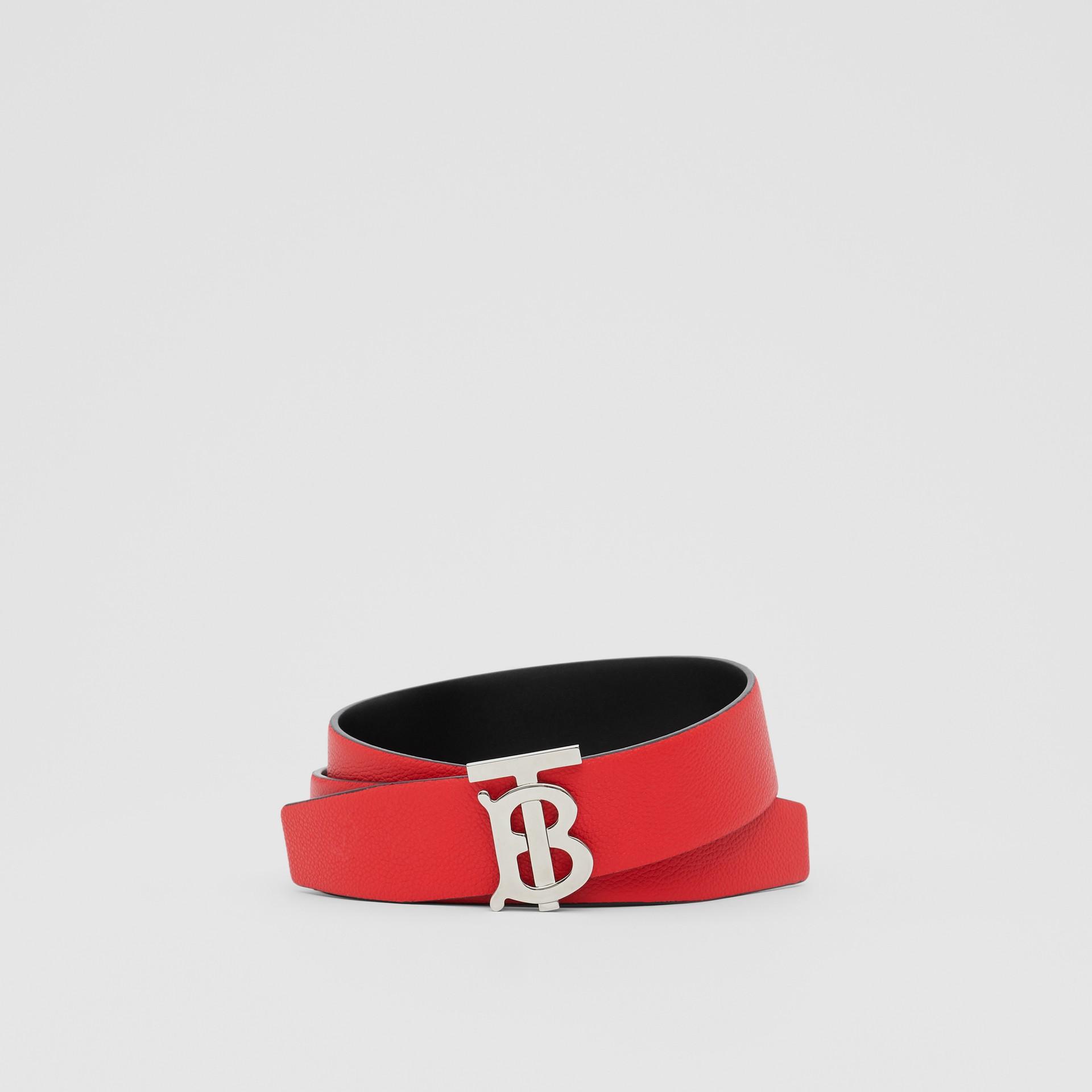 Reversible Monogram Motif Grainy Leather Belt in Military Red/black - Men | Burberry United Kingdom - gallery image 0
