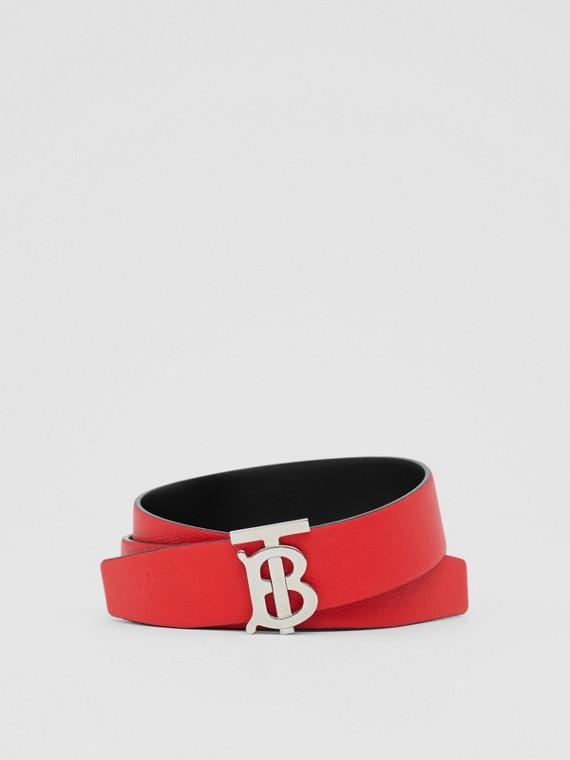 Cinturón reversible en piel granulada con motivo de monograma (Rojo Militar/negro)