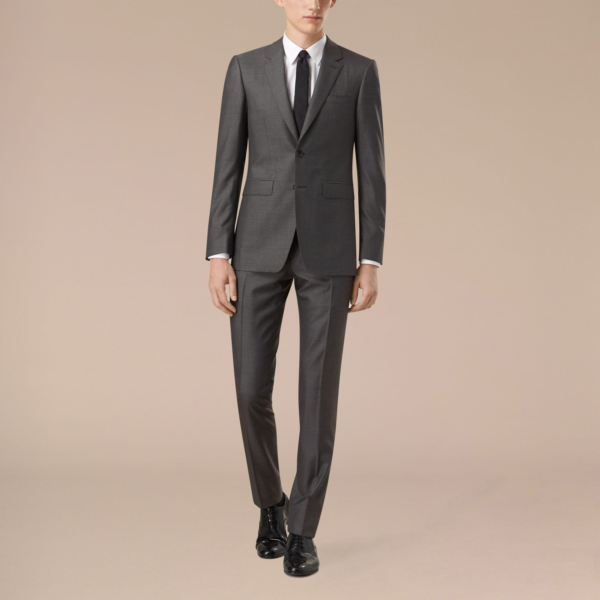 Dark grey melange Slim Fit Wool Silk Half-canvas Suit - gallery image 7