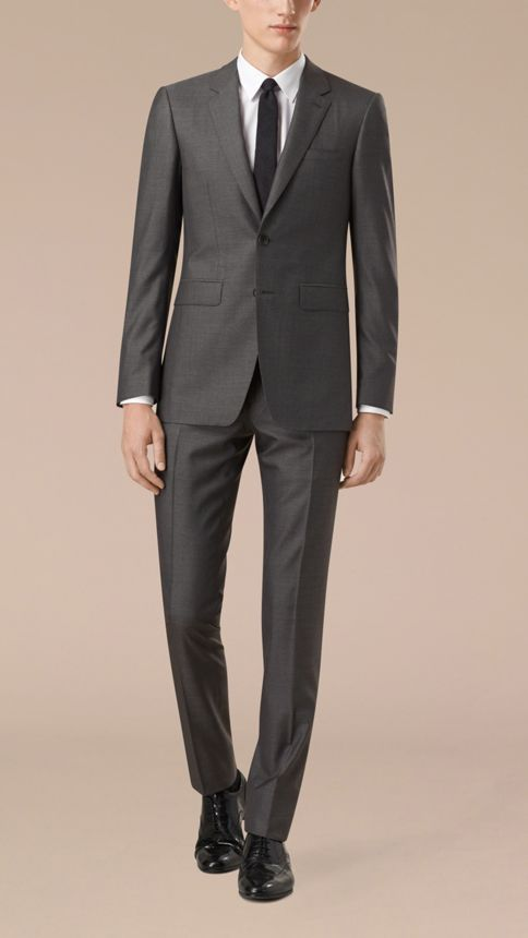 Dark grey melange Slim Fit Wool Silk Half-canvas Suit - Image 7
